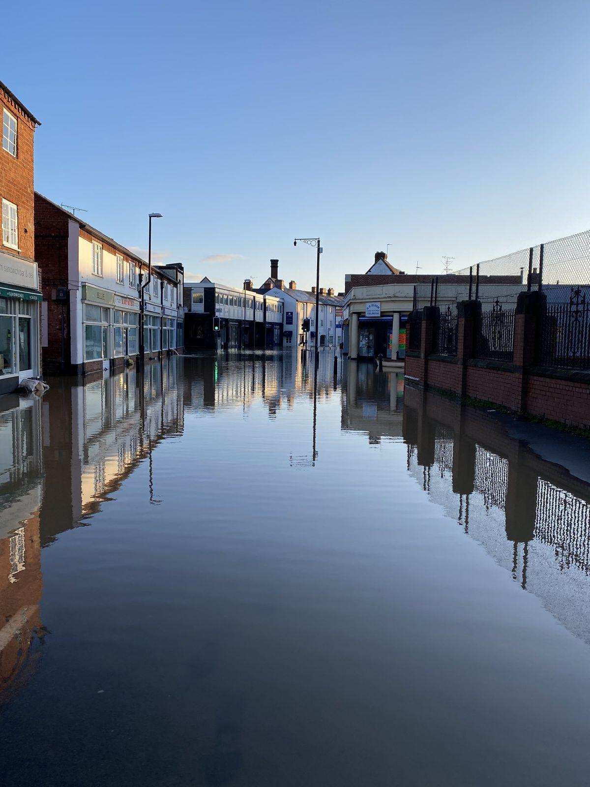 Flooding in Shrewsbury. Photo: Tim Atherton @wmastatherton