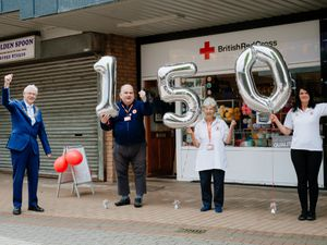 Oakengates Red Cross Shop is celebrating its 150 years anniversary. In Picture L>R: Mayor of Oakengates Stephen Raynolds, Charles Cartwright, Marion Lowe and Jayne Edwards