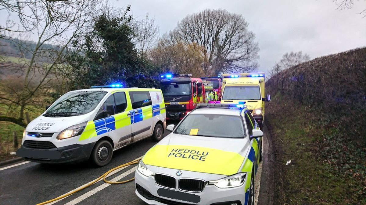 The scene of the accident near Llandinam