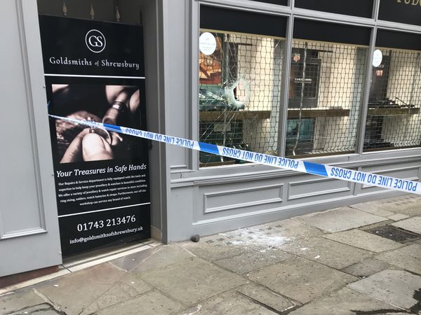 Police tape was in place around Goldsmiths of Shrewsbury