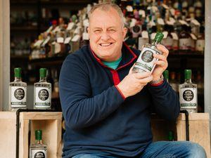 Moonshine & Fuggles owner Derek Bowen showcases the new 'Wrekin Alpine ' gin