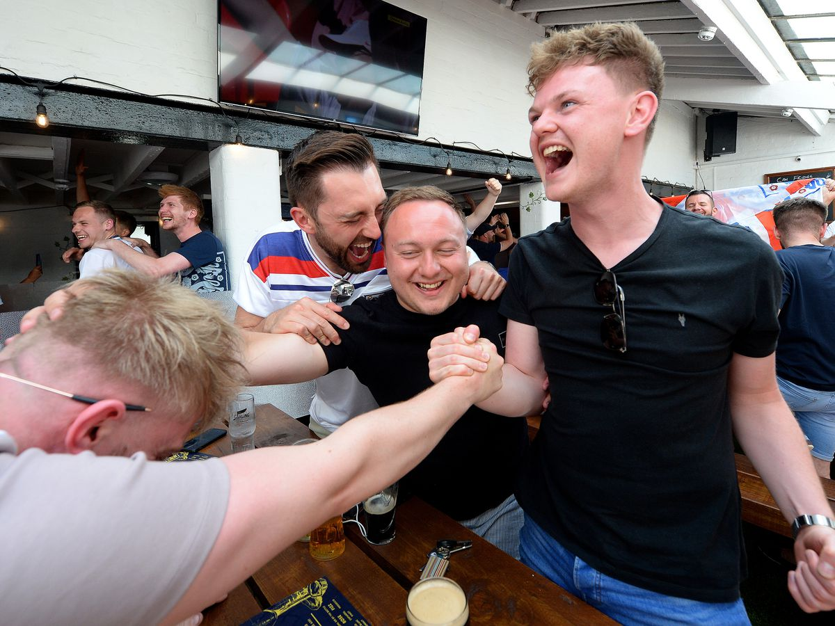 England fans at the Salopian Bar, Shrewsbury, were delighted to see the Three Lions win their Euro 2020 opener
