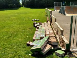 The skate park wall at Norbroom Park in Newport has been pushed over and vandalised