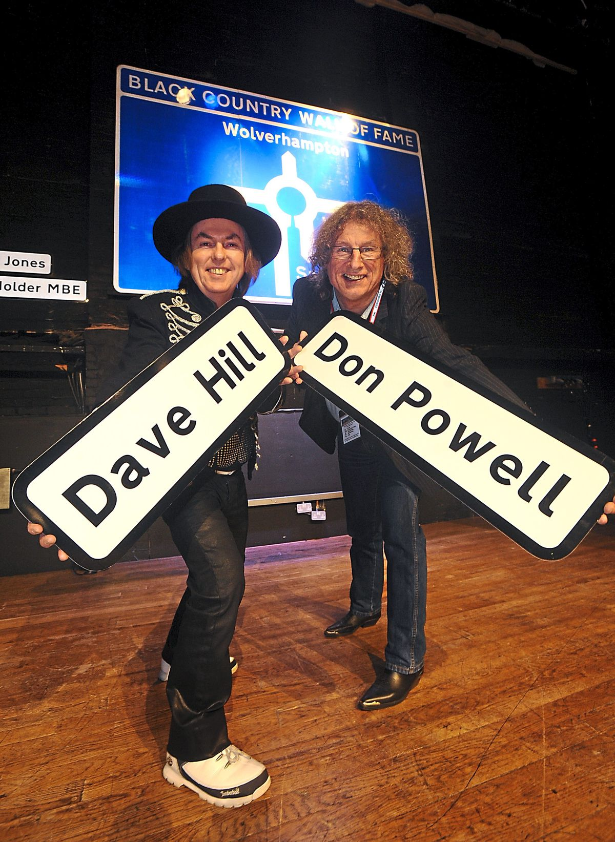 Slade's Dave Hill and Don Powell with their Wall of Fame signs at the Civic Hall, Wolverhampton
