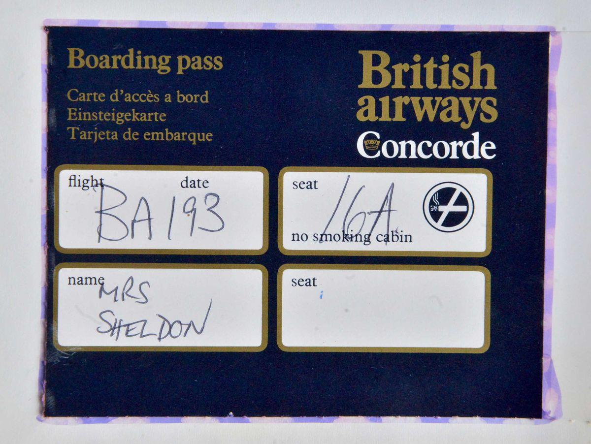 Sue Adams' boarding pass for the flight