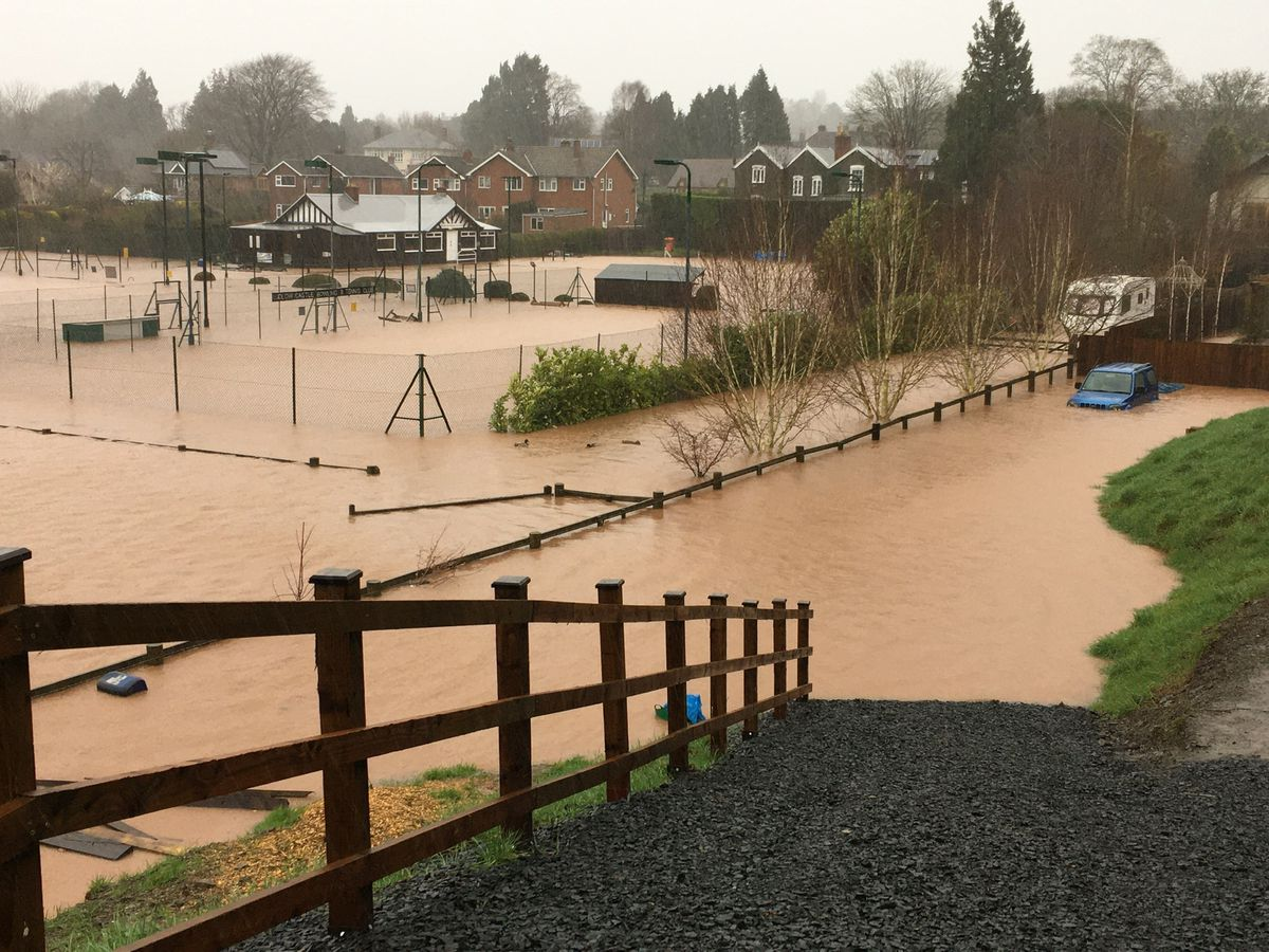Ludlow Castle and Bowling Club under water after Storm Dennis. Photo: Victoria Martin