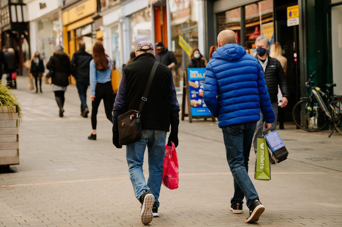 Shoppers at Shrewsbury's Pride Hill