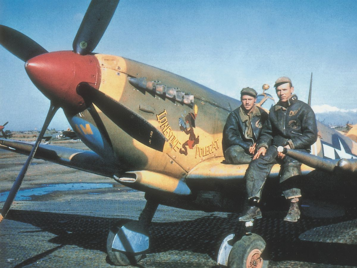 A rare colour photo showing an American Spitfire in the Mediterranean theatre.