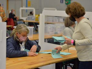 The 2021 election results were counted at the Sports Village in Sundorne, Shrewsbury