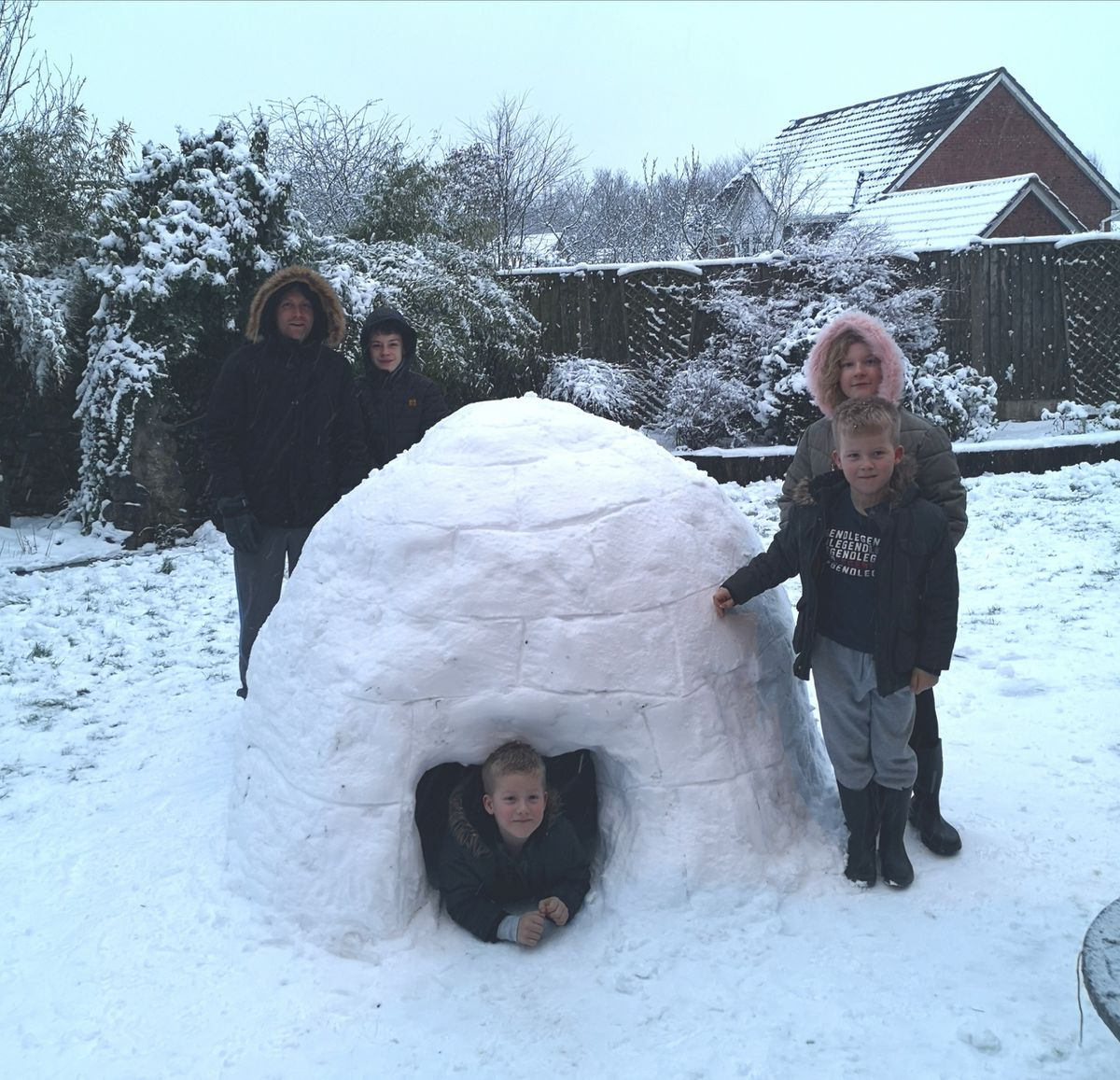 Igloo building in St George's Telford, big enough to fit in seven-year-old twin boys. Photo: Rachel Hudson