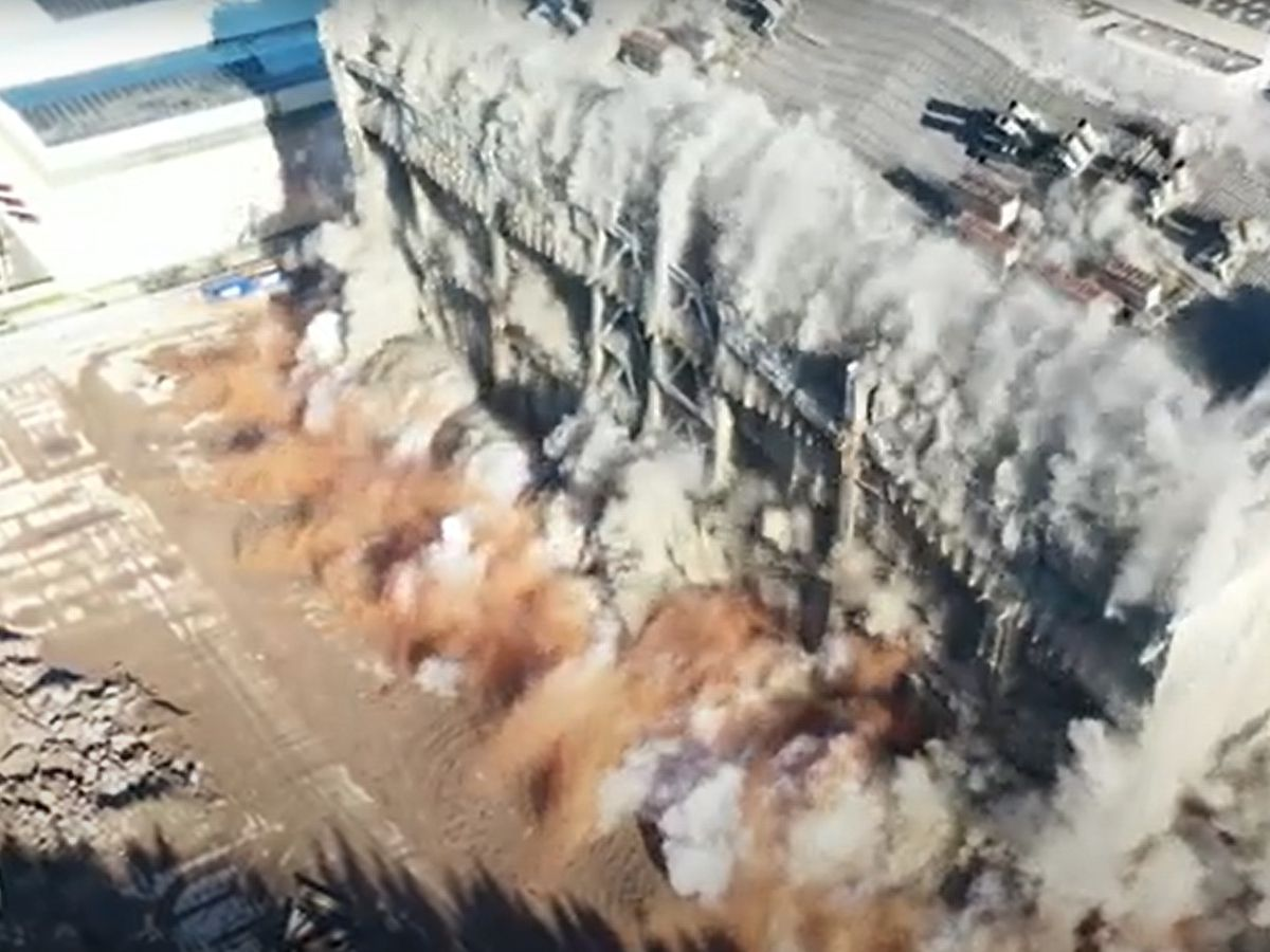 Drone footage from Gorilla Drones and Demolition Services Ltd shows the latest demolition at Ironbridge Power Station