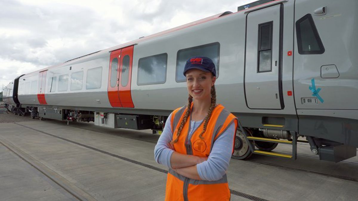 Grace Webb with one of the trains