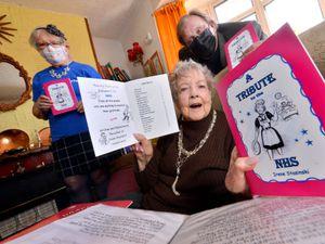 Irene Stasinski, 90, with Suzanne Edwards, from Drayton Arts Fest, and Roy Payne of Market Drayton Community Enterprise