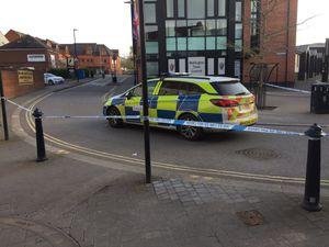 The police cordon on Walker Street yesterday