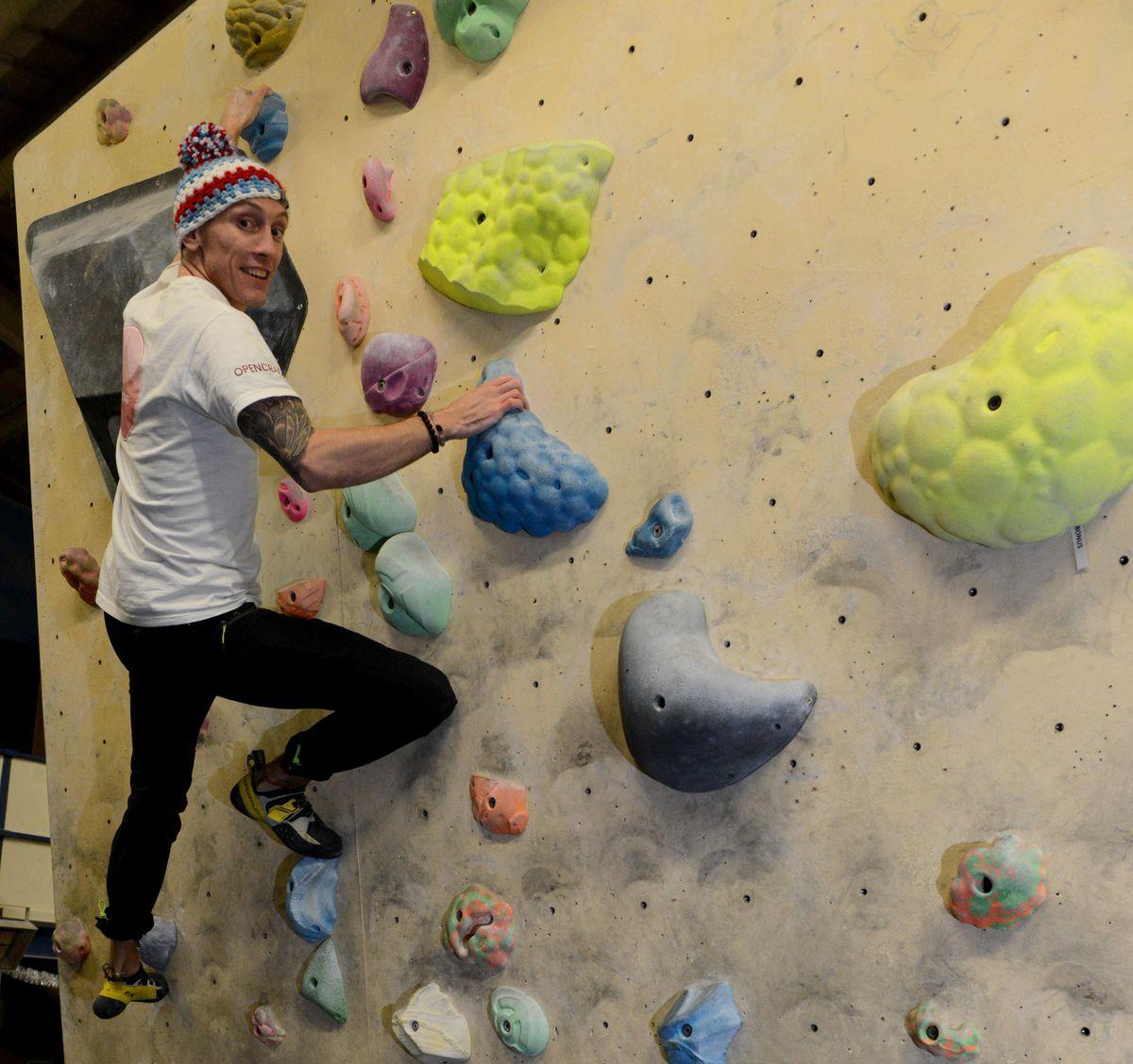 Luke at Shropshire Climbing Centre in Newport