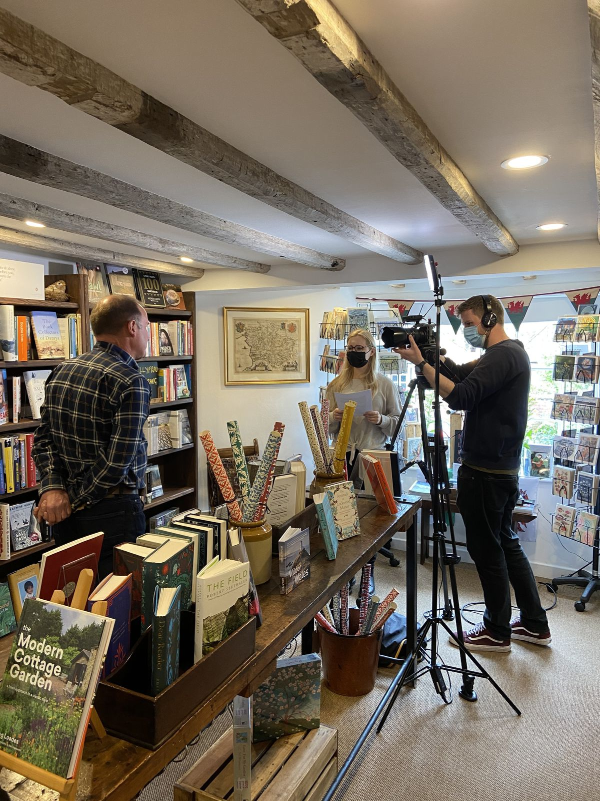 Eaves & Lord bookshop in Montgomery visited by film crew