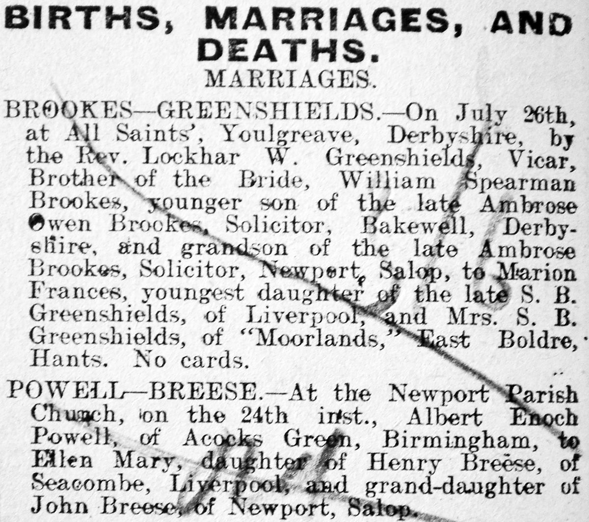 Enoch Powell's parents were married in Newport in 1909, as this notice in the local paper shows.