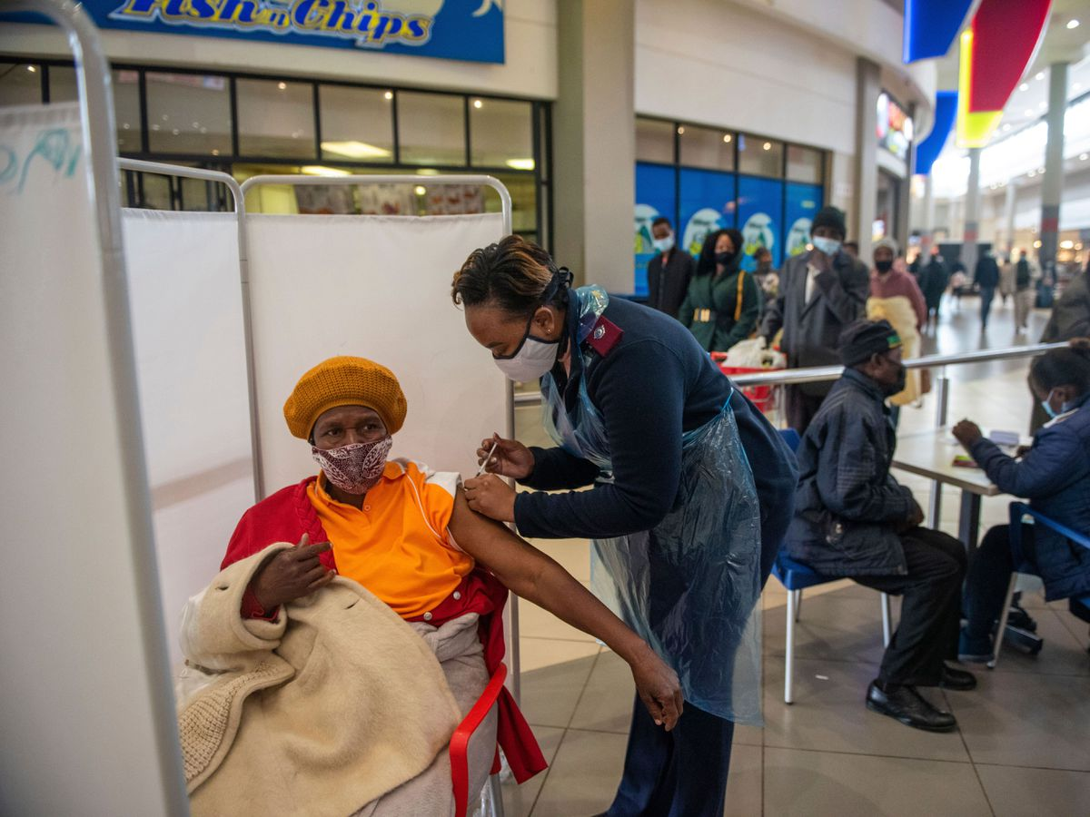 A patient receives a Johnson & Johnson vaccine against Covid-19 in Hammanskraal, South Africa