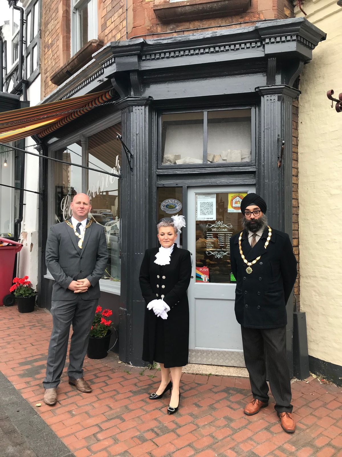 Broseley deputy mayor, councillor Mark Garbett, with the High Sheriff of Shropshire Dean Harris and town mayor councillor Tarlochen Singh-Mohr