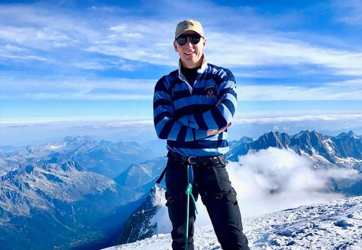 Russell Hindmarch climbed Mont Blanc wearing his Shrewsbury Rugby Club jersey
