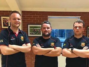 New Whitchurch head coach Noel Speed, left, alongside the man he replaced, Scott Sturdy, centre, who has joined Hereford, and Colts coach Max Pridmore
