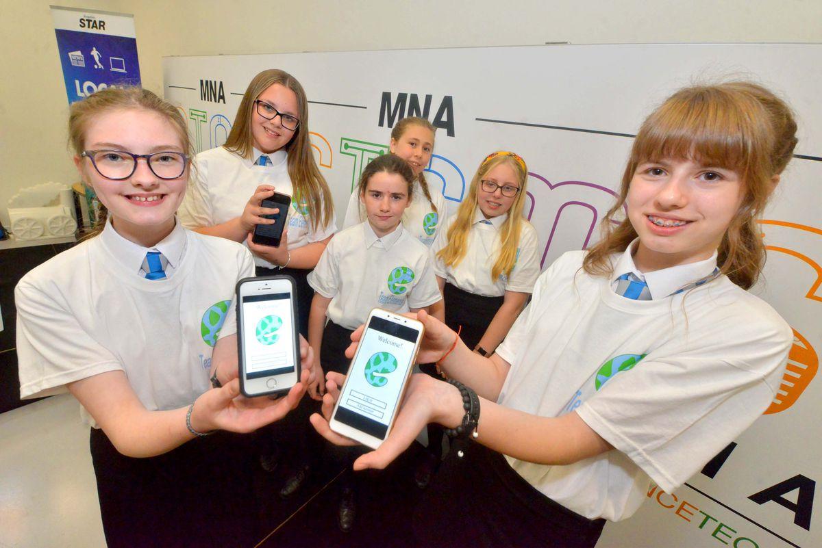 The Grove School - Team Elements eco-safe; front, : Georgie Ingham, 13, Valeria Paslar, 13, back,; Olivia Talbot, 13, Ellie Pankhurst, 13, Lily Hudson, 13, Jessica Williams, 12