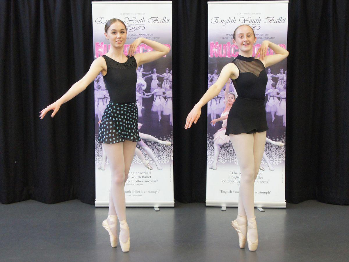 Market Drayton's Holly Blackham, left, with fellow dancer Mia Branford from Kidderminster