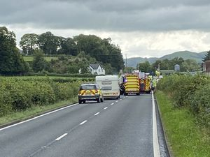 Emergency services at the crash at Llandinam. picture: @ryszardsys1