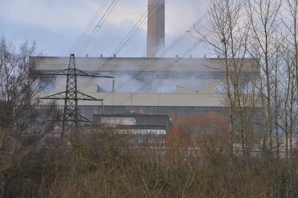 Smoke can seen at the power station