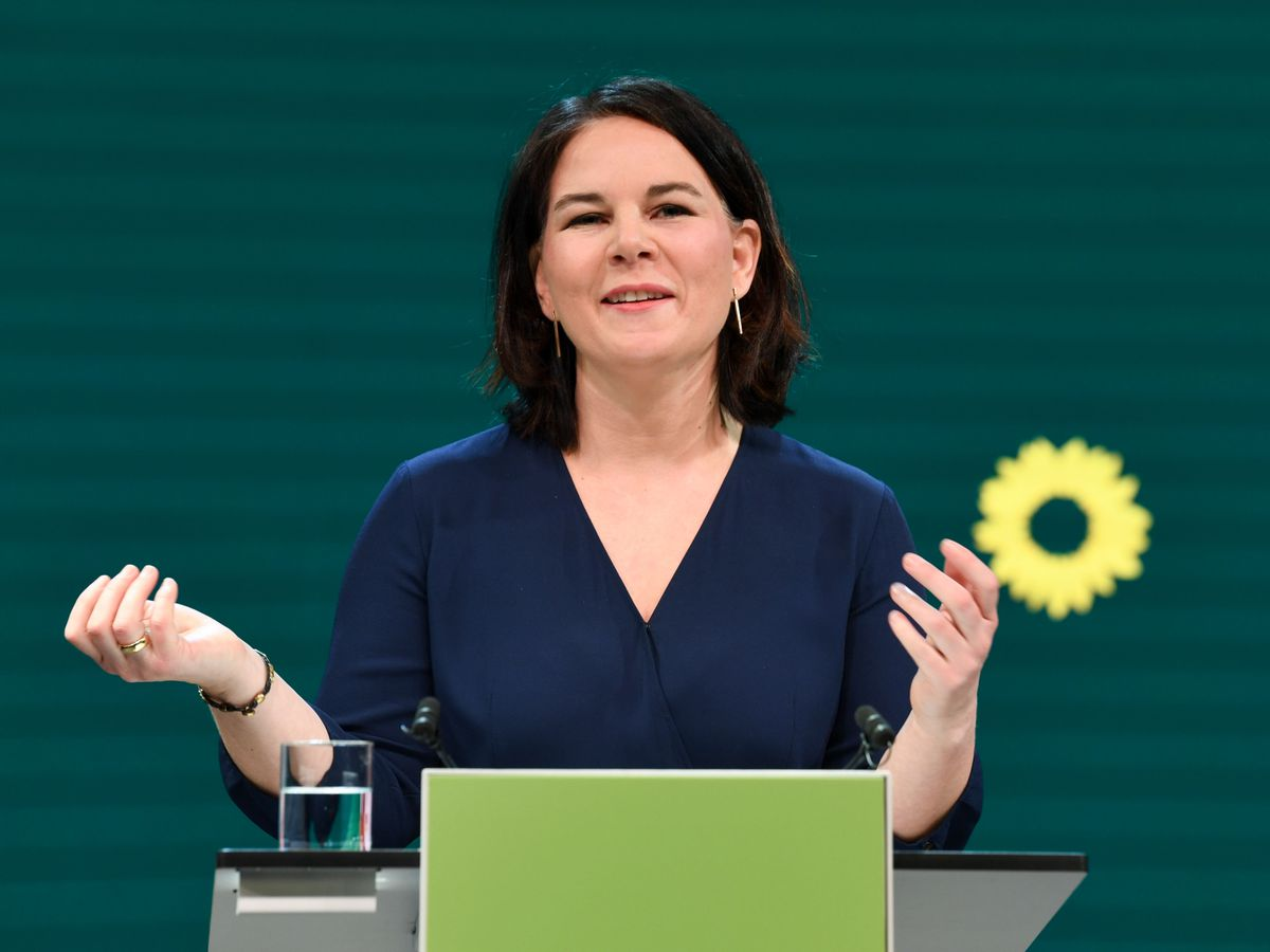 Germany's Green party co-leader Annalena Baerbock gives a speech during a digital announcement event in Berlin, Germany, where the party presented her as top candidate for chancellor