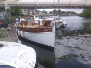 the Anne, a 30ft pleasure cruiser, on the Thames in May 2017 immediately after being returned to the water following expensive restoration. Picture is from Mrs Annie Gabb, nee Thompson