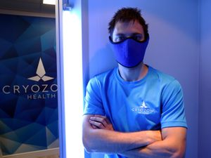 Lee Morgan in a thermal mask inside Cryozone's freezing chamber