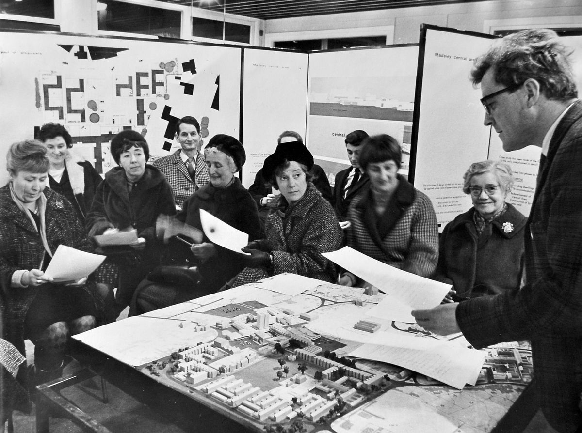 Landscape conservation and new town planning is here being explained by Dr Tom Pritchard of The Nature Conservancy to adults attending the second of 10 weekly lectures being held in Dawley Development Corporation's exhibition room at Dawley, back in January 1967. It was organised by the University of Birmingham Department of Extra Mural Studies, in association with the Shropshire local education authority.