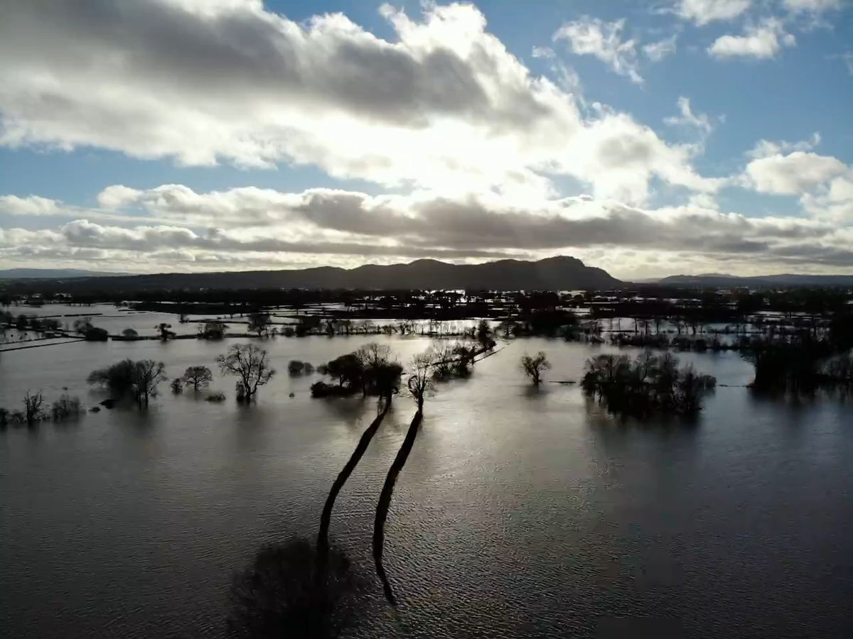 Flooding at Melverley from the Severn and Vyrnwy rivers. Photo: Chris Aitken