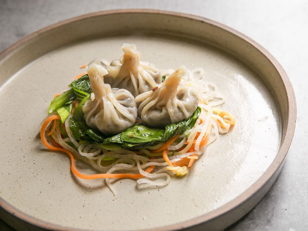 Steamed shiitake won ton with bok choy and vegetable noodles