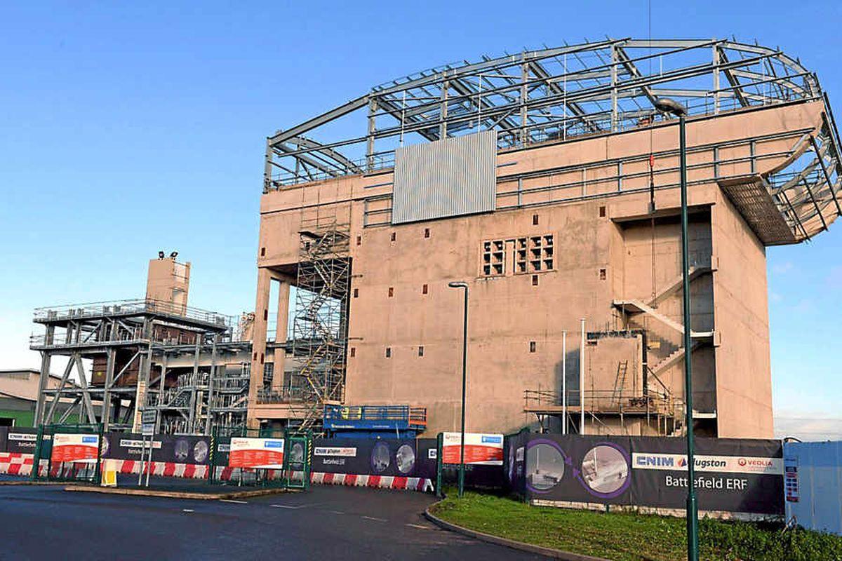 The incinerator in Battlefield, Shrewsbury, is beginning to take shape