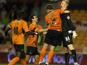 Wolverhampton Wanderers's goalkeeper Aaron McCarey celebrates