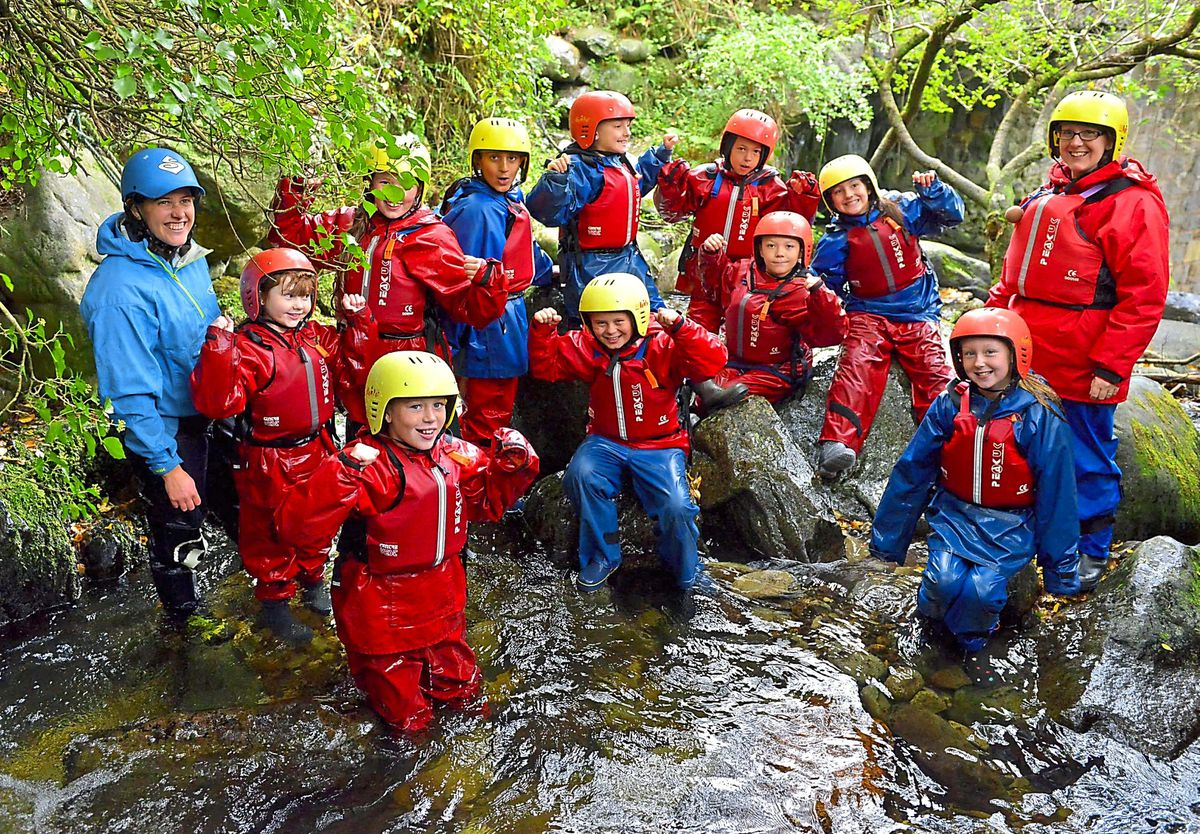 Pupils from Newdale Primary School go gorge walking
