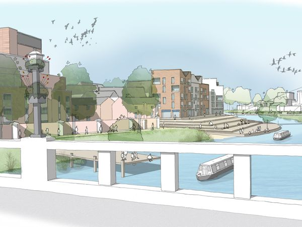An illustrative vision of the waterfront at Frankwell. Pic LDA Design