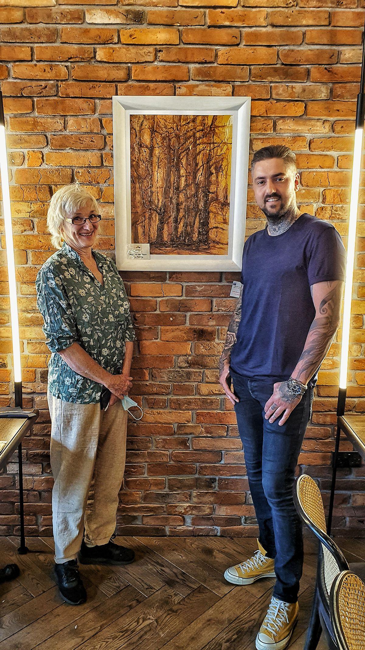 Daily Brews founder Vytis Kiuberis with artist Lena Jarl Churm