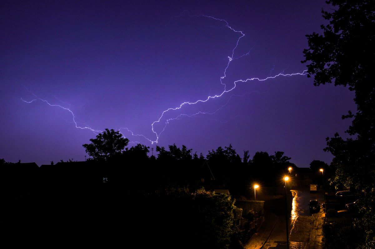 Thunderstorms and lightning swept in across Walsall. PICTURE: Shaun Fellows/Shine Pix