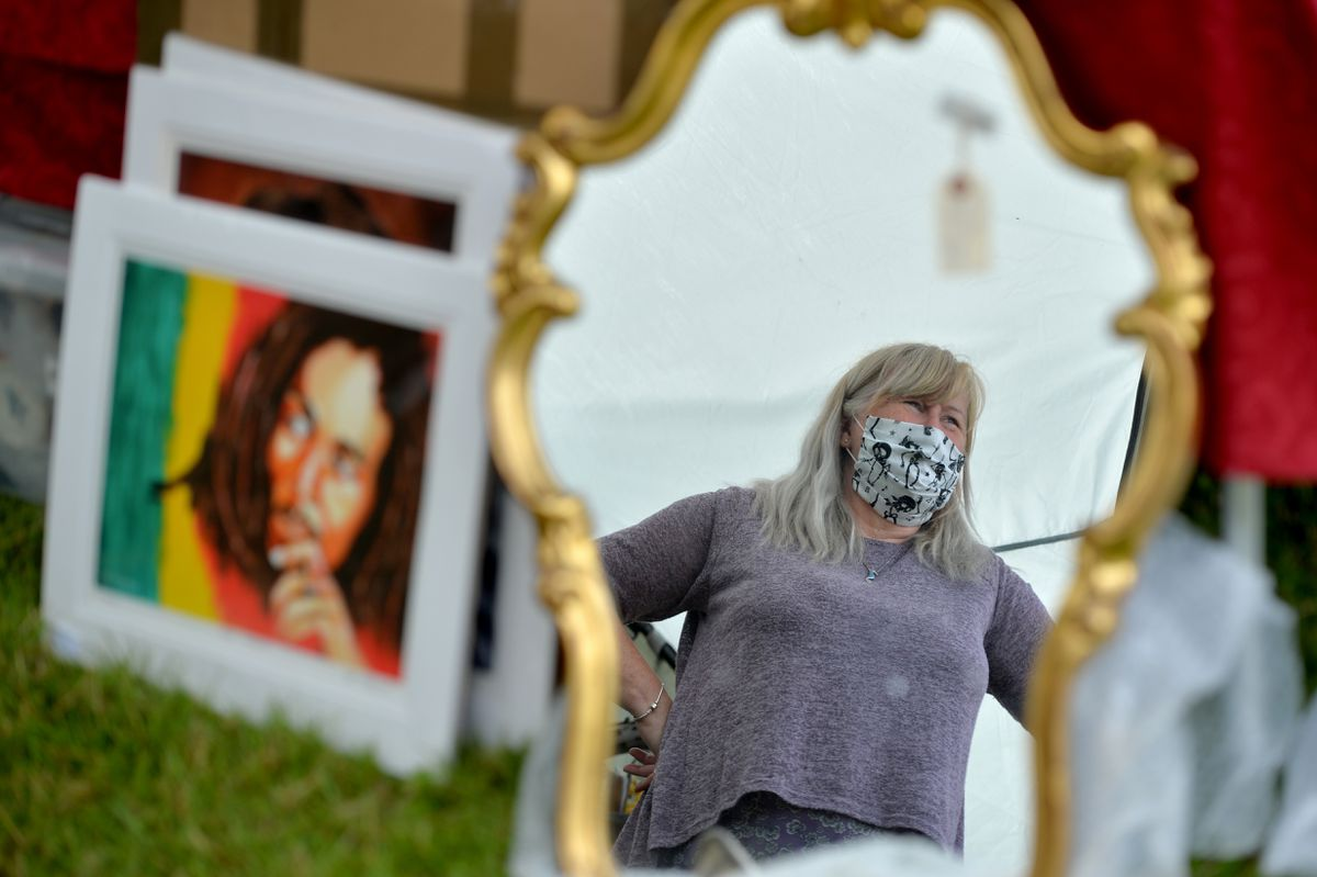 Stallholder Gill Mayers is well prepared at the first antiques fair at West Midlands Showground Shrewsbury since lockdown