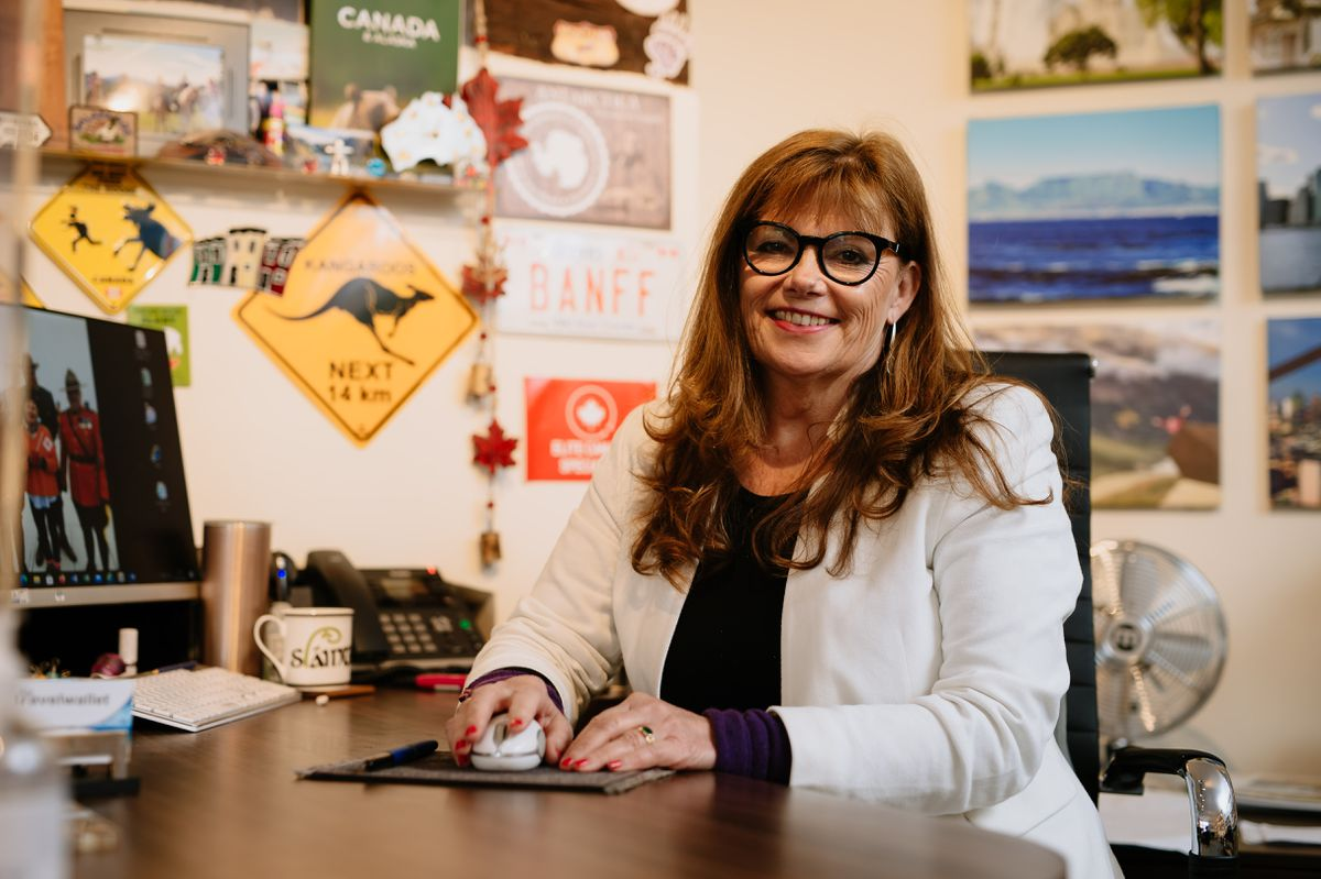 LAST COPYRIGHT SHROPSHIRE STAR JAMIE RICKETTS 13/10/2020 - Travel Agency - The Travelwallet in Bridgnorth for story on how they have been coping amid the pandemic. In Picture: Owner Maggie Rogers..