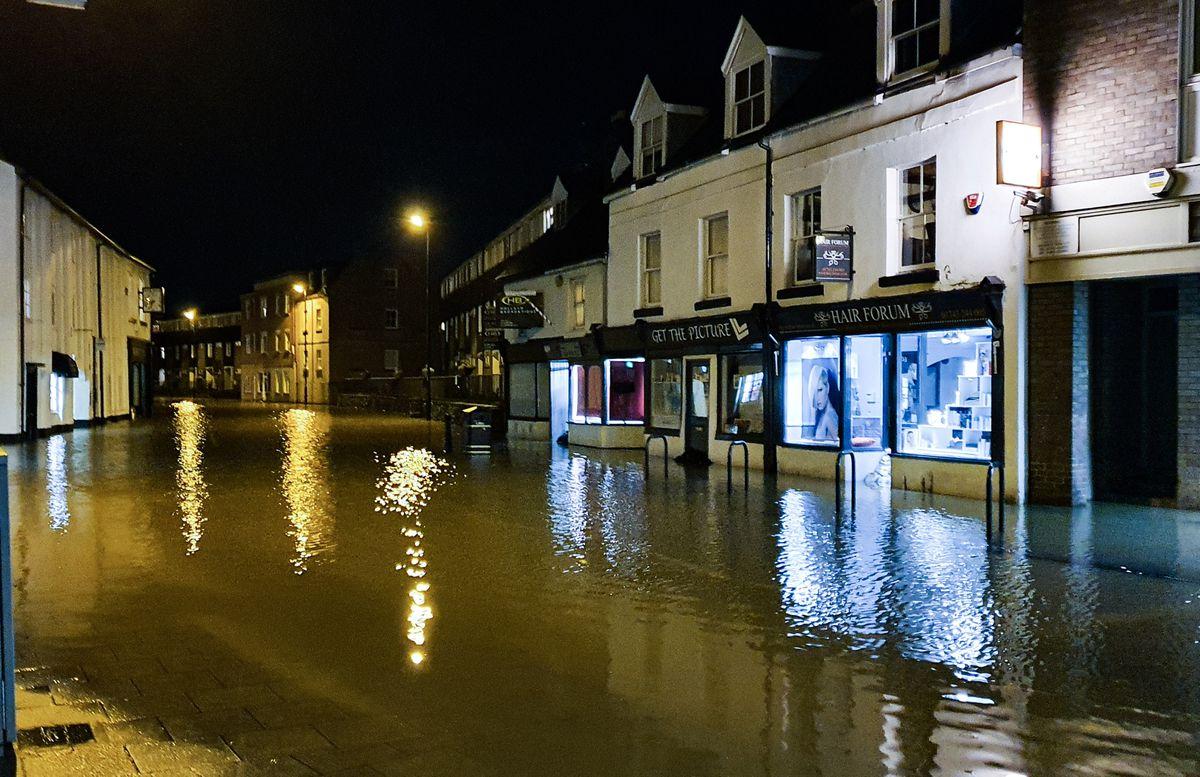 Flooding in Coleham, Shrewsbury. Photo: Owain Betts