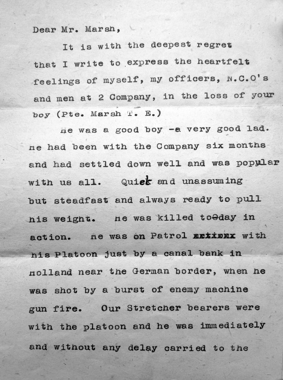 The letter home giving the terrible news.