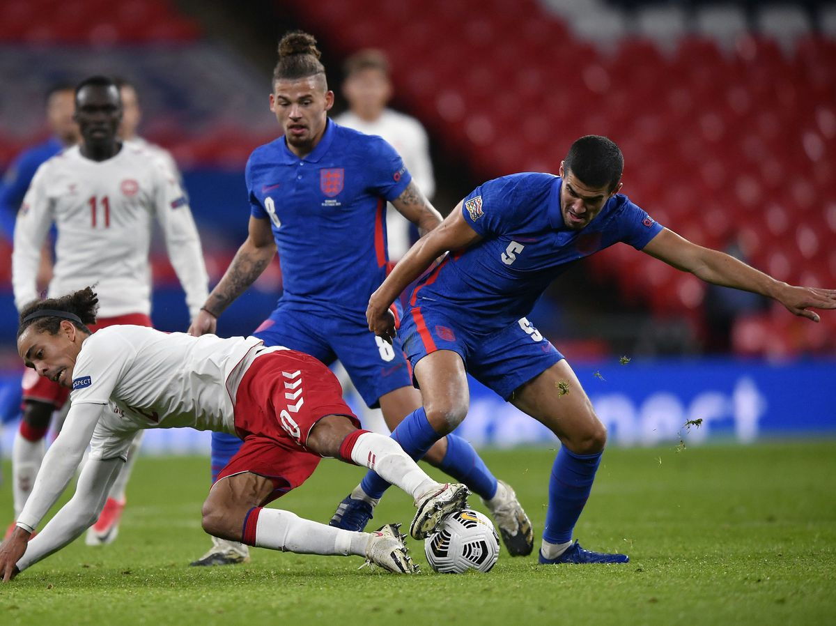 Conor Coady playing for England against Denmark (PA)