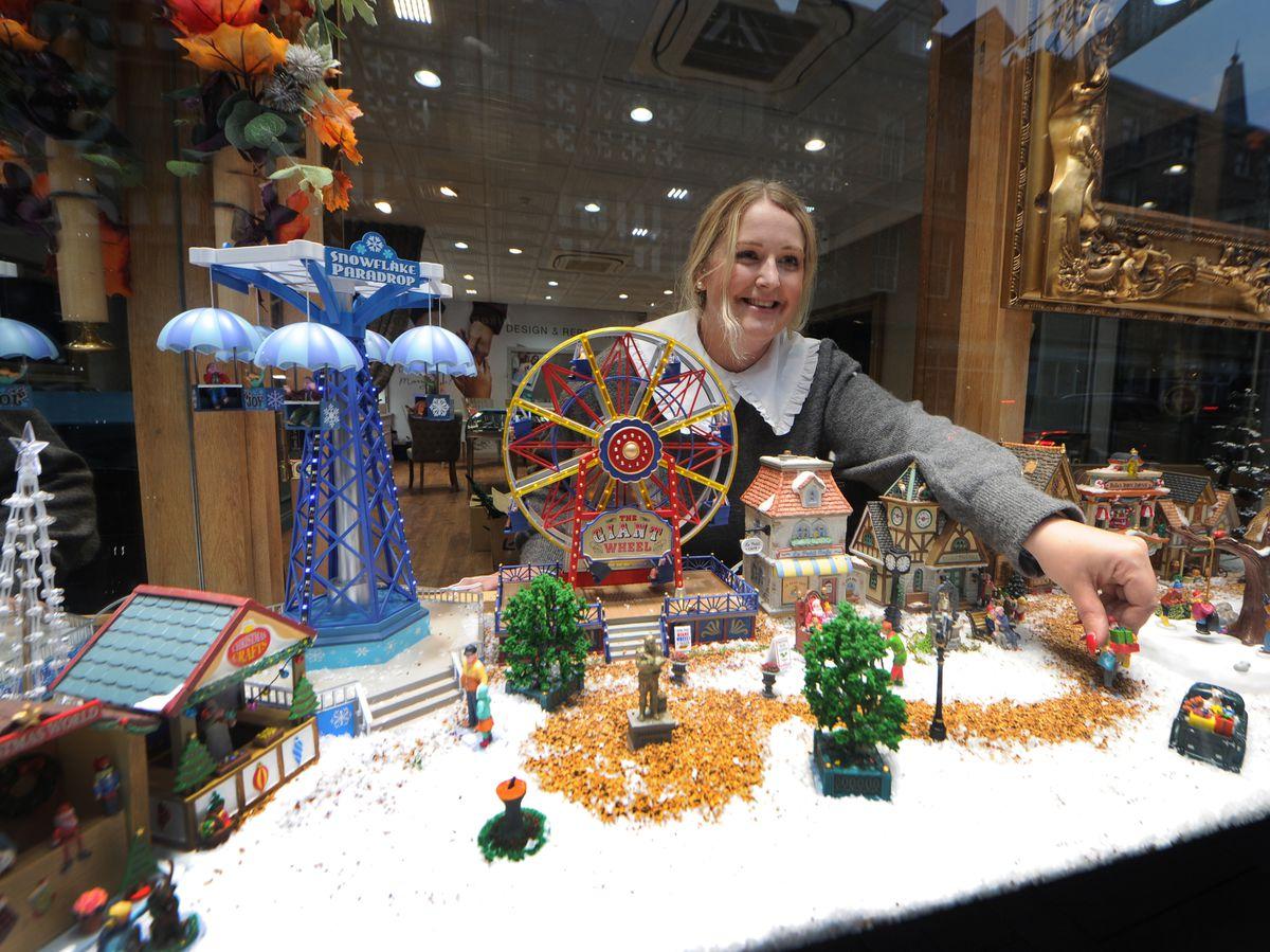 Rachel Davies looks over the winter wonderland in the window of County Goldsmiths