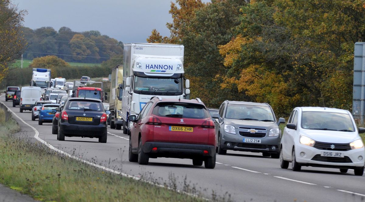 Traffic slowed to a crawl along the A5