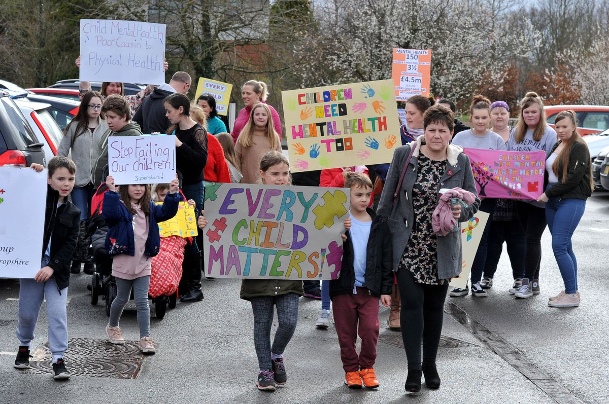 Protesters gathered outside the base of Shropshire's children and adolescent mental health service last week