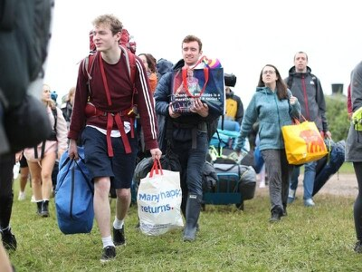 Music fans begin to set up camp as gates to Glastonbury Festival open